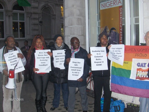 Nigerian LGBTI In Diaspora Against Anti-Same Laws. Protest Londo 002